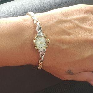 Vintage 10K Gold and Diamond Bulova Watch